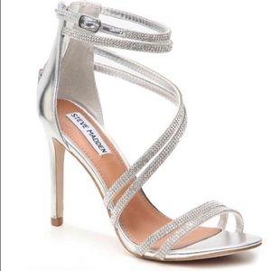 Steve Madden Fiffi Silver Crystal Strappy Heels